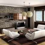 Дизайн квартиры — каменный интерьер зала